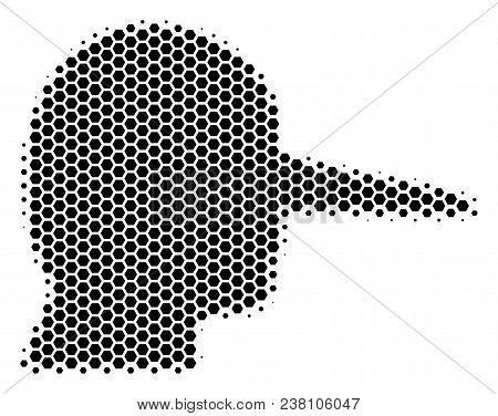 Halftone Hexagonal Lier Icon. Pictogram On A White Background. Vector Concept Of Lier Icon Created O