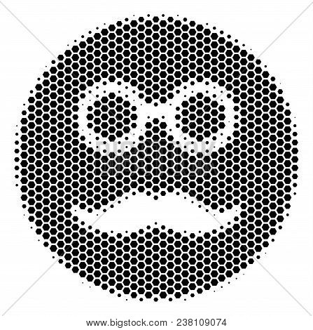 Halftone Hexagon Pension Smiley Icon. Pictogram On A White Background. Vector Pattern Of Pension Smi