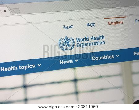 Amsterdam, The Netherlands - March 27, 2018: Official Homepage Of The World Health Organization Is A