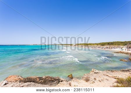 Platja D'es Trenc, Mallorca - Far View Onto Turquoise Water At The Beach Of Platja D'es Trenc
