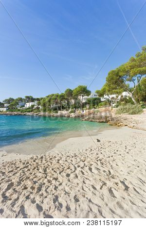 Cala D'or, Mallorca - Many Footprints In The Sand At The Beach Of Cala D'or