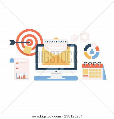 E-mail Marketing Campaign Flat Illustration. Vector Concept Of Mail Delivery Business Campaign. Proc