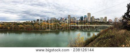 A Panorama Of Edmonton, Alberta, Canada With Colorful Aspen In Autumn