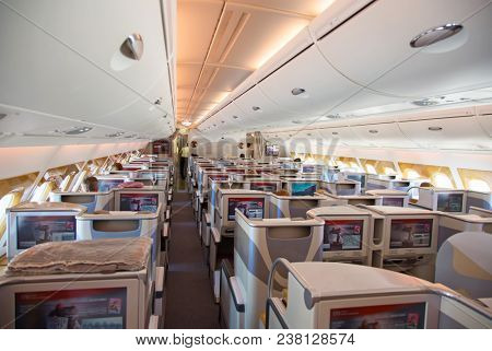 Dubai - September 29:  Business class of A-380 preparing for take off at Dubai Airport on September 29, 2017 in Dubai, U.A.E. Emirates Airlines ownes biggest fleet of the Airbus A-380 aircrafts.