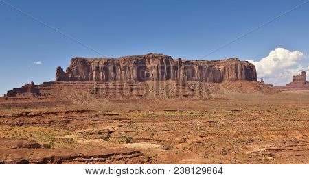 A View Of Sentinel Mesa From The Arizona Side Of Monument Valley. The Mesa Resides On The Utah Side