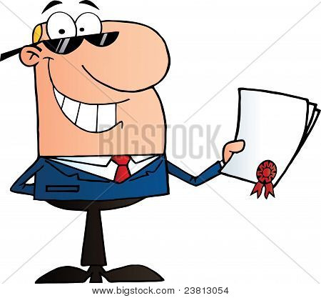 Happy Businessman Showing Contract