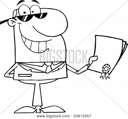 Outlined Happy Businessman Showing Contract
