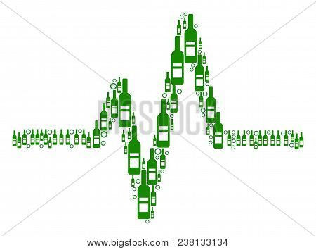 Pulse Collage Of Alcohol Bottles And Round Bubbles In Different Sizes And Green Colors. Vector Objec
