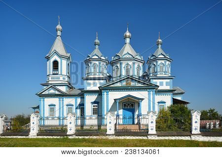Three Saints Church In Pryluky, Chernihivska Oblast, Ukraine.  Beautiful Wooden White Building With