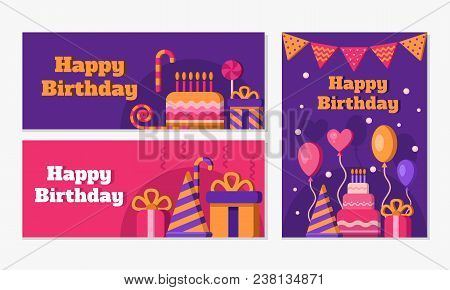 Collection Of Happy Birthday Banners. Set Of Greeting Templates. Invitation Cards To The Party. Vect