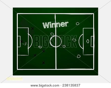 Hand Drawing Style Football Soccer Green Blackboard With Coach Drawing Strategy