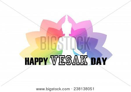 Vesak Day Greeting Card With Buddha Silhouette And Lotus Flower