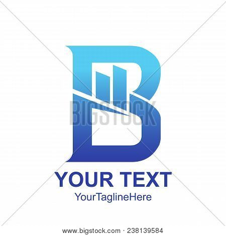 Initial Letter B Logo Template Colored Blue Graph Chart Design For Business And Company Identity
