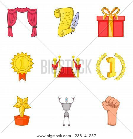 Win Conquest Icons Set. Cartoon Set Of 9 Win Conquest Vector Icons For Web Isolated On White Backgro