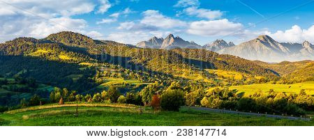 Mountainous Panorama Of Countryside At Sunrise In Summer. Grassy Fields In Morning Light. Composite