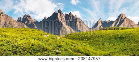 Hight Tatra Mountain Summer Landscape Composite Image. Grassy Meadow With Stones On Top Of The Hills