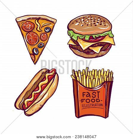 Fast Food Hand Drawn Vector Illustration Isolated On White Background. Cute Best Friends Picture Wit