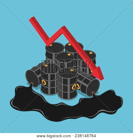 Flat 3d Isometric Oil Barrels With Falling Graph. Oil Price Decrease And Petroleum Industry Concept.