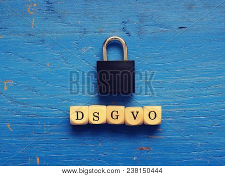 Dsgvo Concept Image With Small Wooden Dices On A Wooden Background