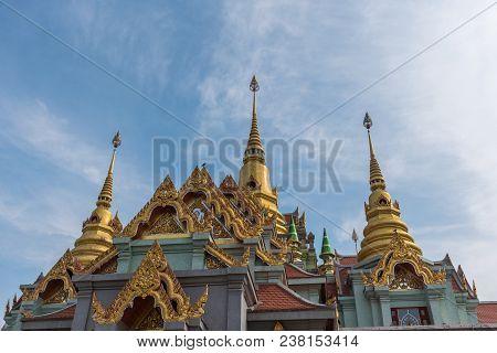 Prachuap Khiri Khan, Thailand - January 27, 2018 :  Wat Pramahathadchedi Pakdeeprakad (wat Tang Sai)