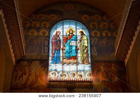 Kronstadt, Saint Petersburg, Russia - August 21, 2017: Jesus Christ Between The Virgin Mary And John