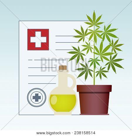 Marijuana Plant And Cannabis Oil. Hemp Oil In A Glass Jar Mock Up. Cbd Oil Hemp Products. Medical Ma