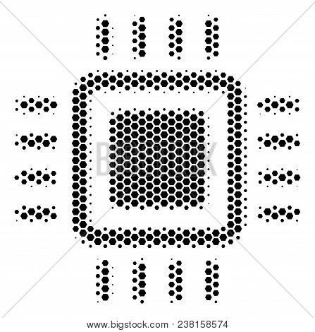 Halftone Hexagonal Processor Icon. Pictogram On A White Background. Vector Composition Of Processor