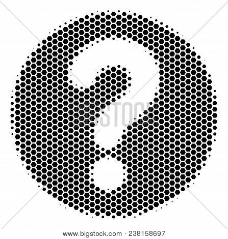 Halftone Hexagonal Query Icon. Pictogram On A White Background. Vector Collage Of Query Icon Combine