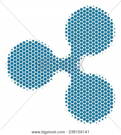 Halftone Hexagonal Ripple Currency Icon. Pictogram On A White Background. Vector Mosaic Of Ripple Cu