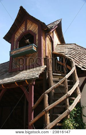 Wooden house representative of european village Renaissance architecture