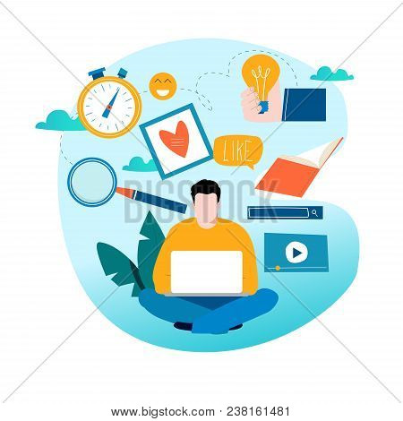 Education, Online Training Courses, Distance Education Vector Illustration. Internet Studying, Onlin