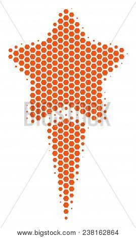 Halftone Hexagon Starting Star Icon. Pictogram On A White Background. Vector Composition Of Starting