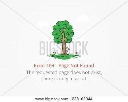 Error 404 Page With A Little Rabbit Behind A Tree Vector Design. Website 404 Page Creative Concept.