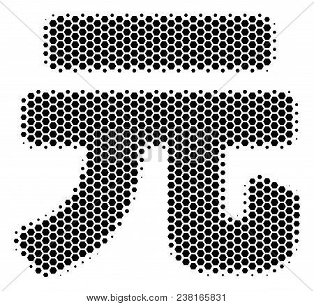 Halftone Hexagon Yuan Renminbi Icon. Pictogram On A White Background. Vector Collage Of Yuan Renminb