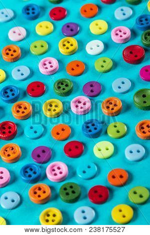 Different Color Buttons On Blue Background. Pastel Color