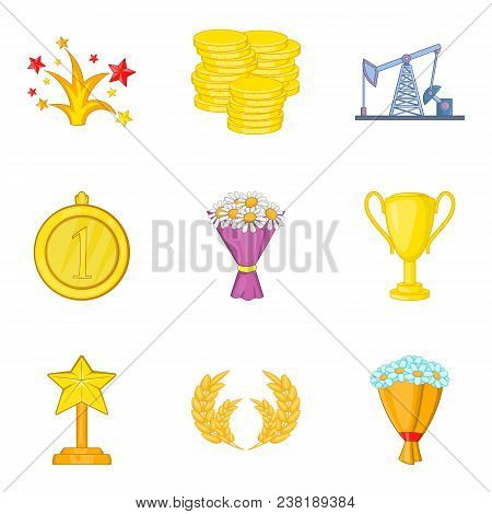 Winning Success Icons Set. Cartoon Set Of 9 Winning Success Vector Icons For Web Isolated On White B