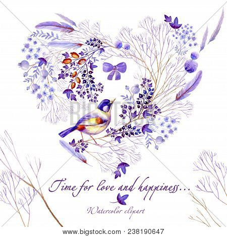 Watercolor Heart-shaped Clipart Of Lilac Nature Elements. Clipart Consist Of Berries, Flowers, Leave