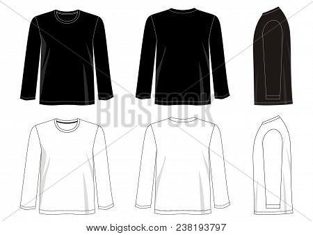 Design Vector T Shirt Template Long Sleeve For Men