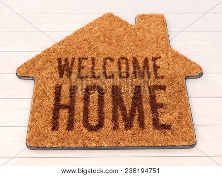 Brown House Icon Shape Coir Doormat With Text Print Welcome Home On Wooden Floor. 3d Illustration