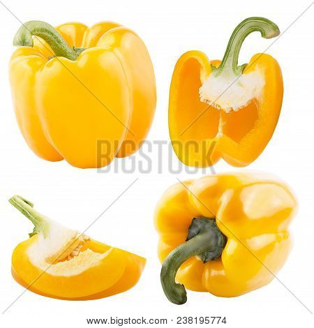 Isolated Vegetables. Ccollection Of Yellow Sweet Peppers Isolated On White Background With Clipping