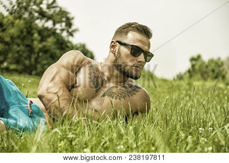 Handsome Muscular Shirtless Hunk Man Outdoor In City Park Laying On The Grass. Showing Healthy Muscl
