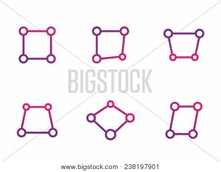 Perspective Vector Icons On White, Eps 10 File, Easy To Edit