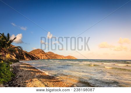 Evening on an empty beach on the island of Virgin Gorda, BVI