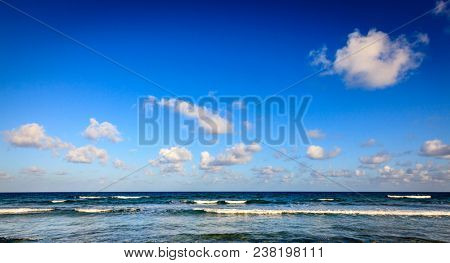Scenic view of Caribbean Sea and blue sky with white clouds in BVI