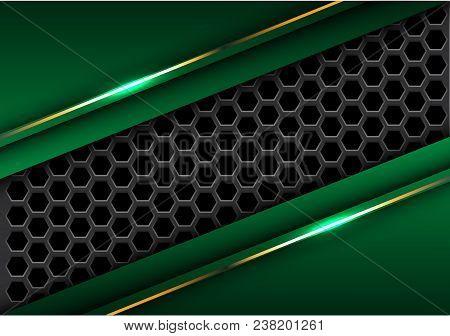 Abstract Dark Gray Hexagon Mesh In Green Triangle Gold Line Design Modern Futuristic Background Vect