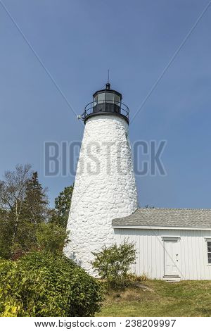 Beautiful White Lighthouse In Castine, Maine, Usa