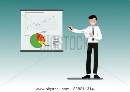 Businessman Presenting The Total Year Profit On A Presentation Screen Whiteboard Explaining Charts,