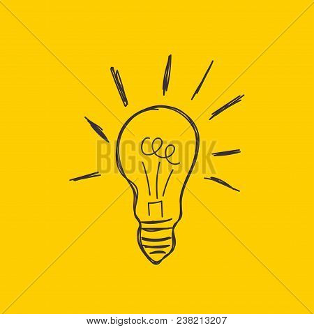 Hand Drawn Light Bulb, Sketch, Doodle Lightbulb, Concept Idea, Imagination, Business Solution, Insig