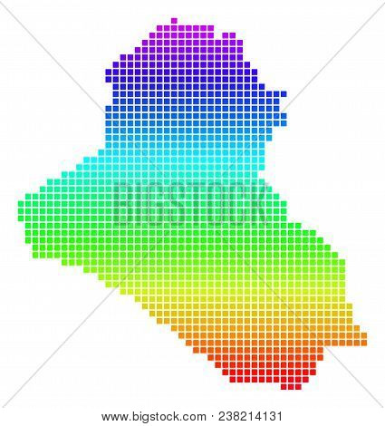 Colored Rainbow Dotted Iraq Map. Vector Geographic Map In Bright Rainbow Colors With Vertical Gradie