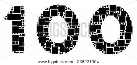 100 Text Collage Icon Of Rectangles And Spheric Dots In Different Sizes. Vector Objects Are Organize